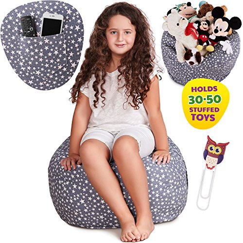 Premium Stuffed Animal Storage Bean Bag Chair, Large Unisex Design and Multipurpose Storage Perfect Decorative Kid's Room and Playroom Organizer+FREE Owl Bookmark, Replace Your Mesh Toy Hammock or Net