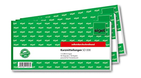 Amazon.com: Sigel SD008 Kurzmitteilung 1/3 A4 Landscape ...