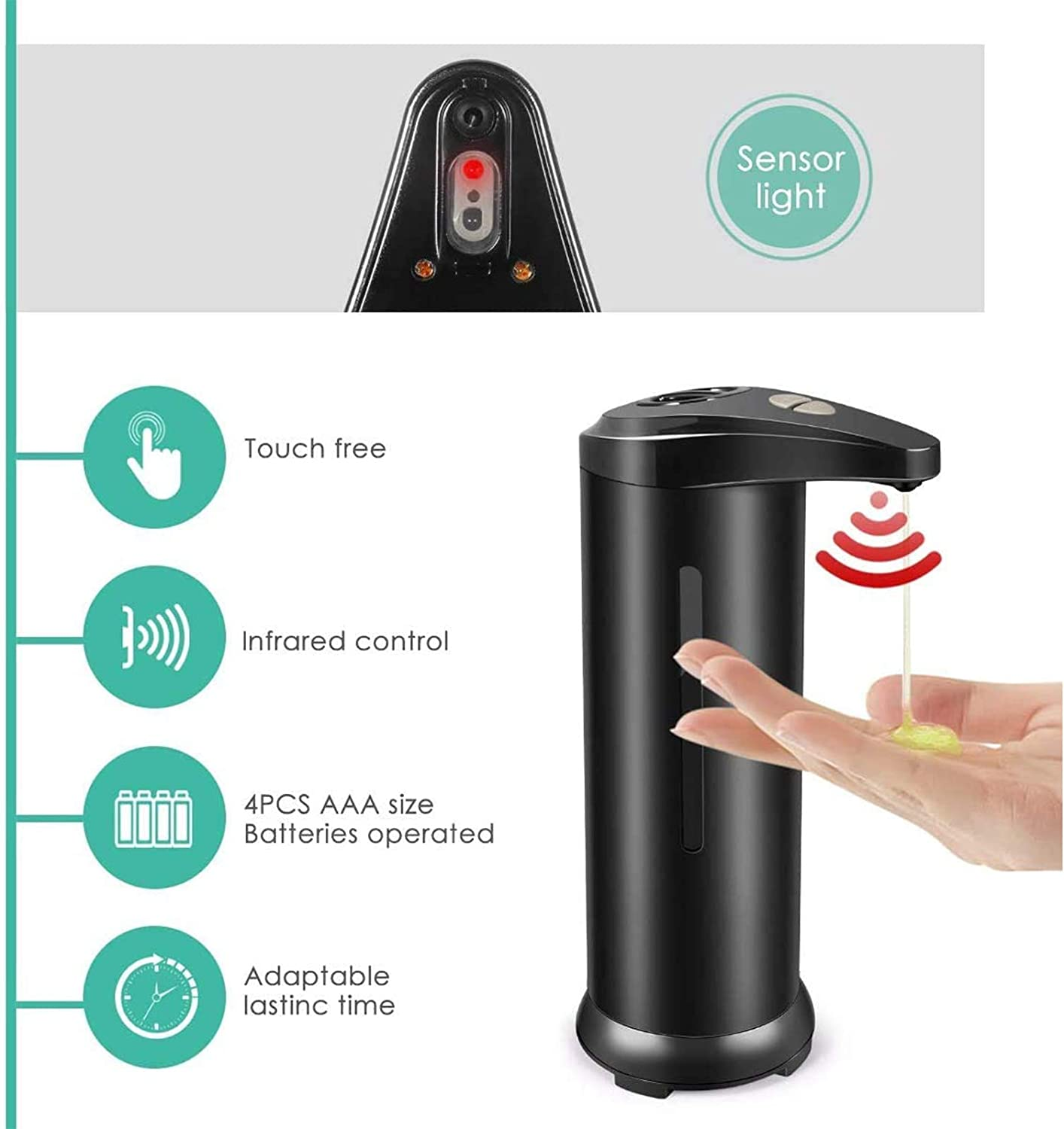 High Capacity Soap Dispenser with Infrared Motion Sensor and Stainless Steel Upgraded Waterproof Base Automatic Soap Dispenser Suitable for Kitchen Bathroom Hotel Touchless Soap Dispenser
