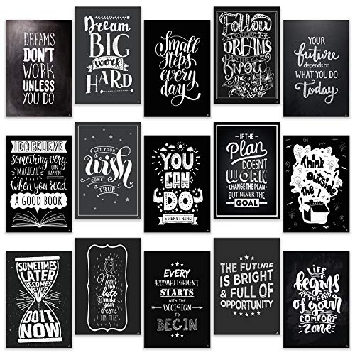 Motivational Posters for Office, Room, Home, Classroom Decorations Chalkboard 15 Set - Inspirational Quotes Wall Decor Black White Pictures 13 x 19 - Inspiring Students, Women, Men, Teachers Gifts