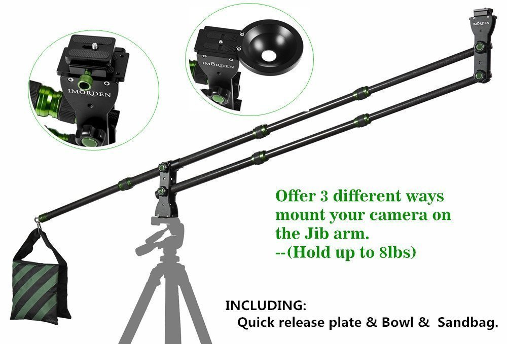 IMORDEN 5.7ft/1.7m Foldable and Entendable Mini Carbon Fiber Camera Crane(hold up to 8lbs/3.6kg) Jib Arm with Environmental Carrying Bag, Empty Sandbag, Bowl and Acra-swiss Quick Release Plate by IMORDEN