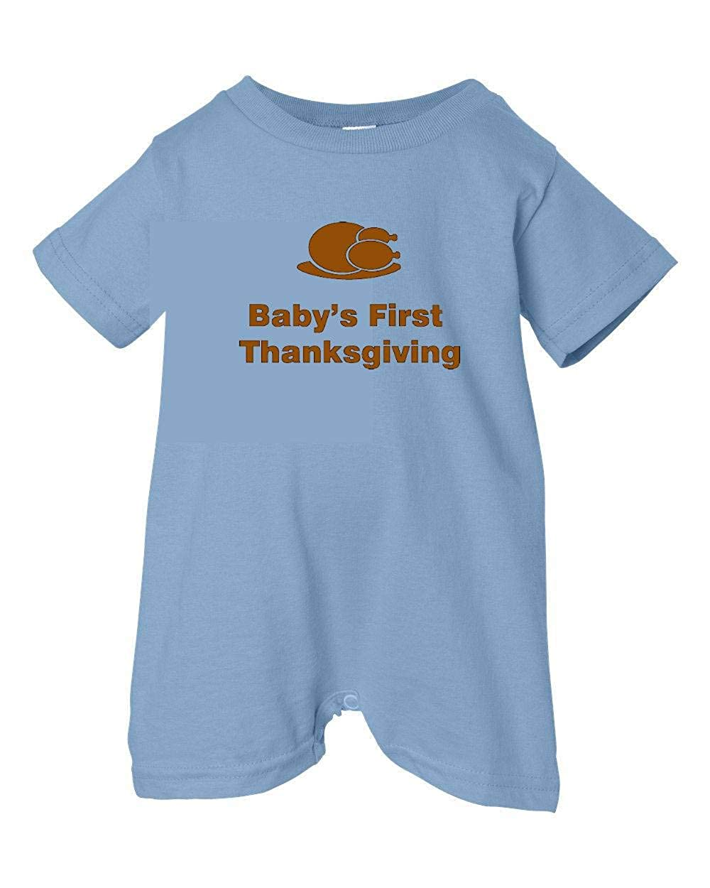 Dinner Festive Threads Unisex Baby Babys First Thanksgiving T-Shirt Romper Lt. Blue, 6 Months