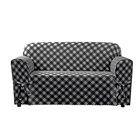 Pleasing Surefit Buffalo Check 1Piece Loveseat Slipcover Black Loveseat Squirreltailoven Fun Painted Chair Ideas Images Squirreltailovenorg
