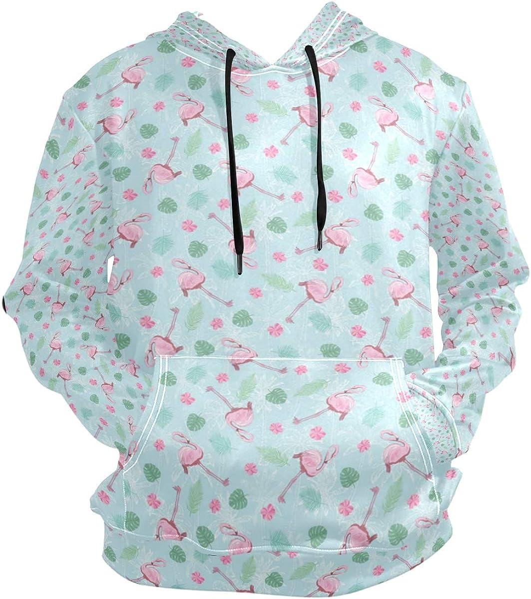 Flamingo Tropical Plants and Jungle Mens Hoodies /& Sweatshirts Long Pullover