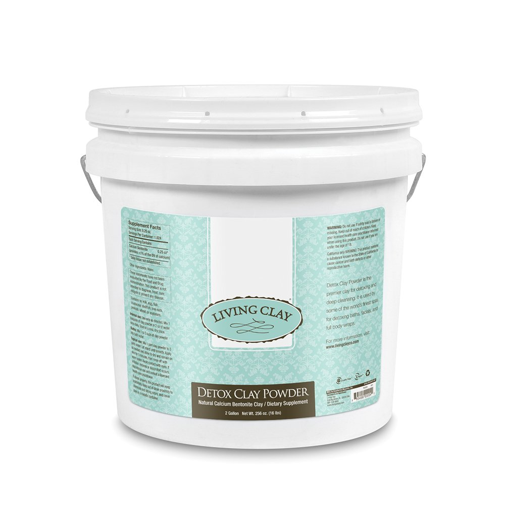 Living Clay Detox Clay Powder | All-Natural Bentonite Calcium Clay for Internal & External Deep Cleansing | Perfect for Mask, Bath or Wrap | 2 Gal