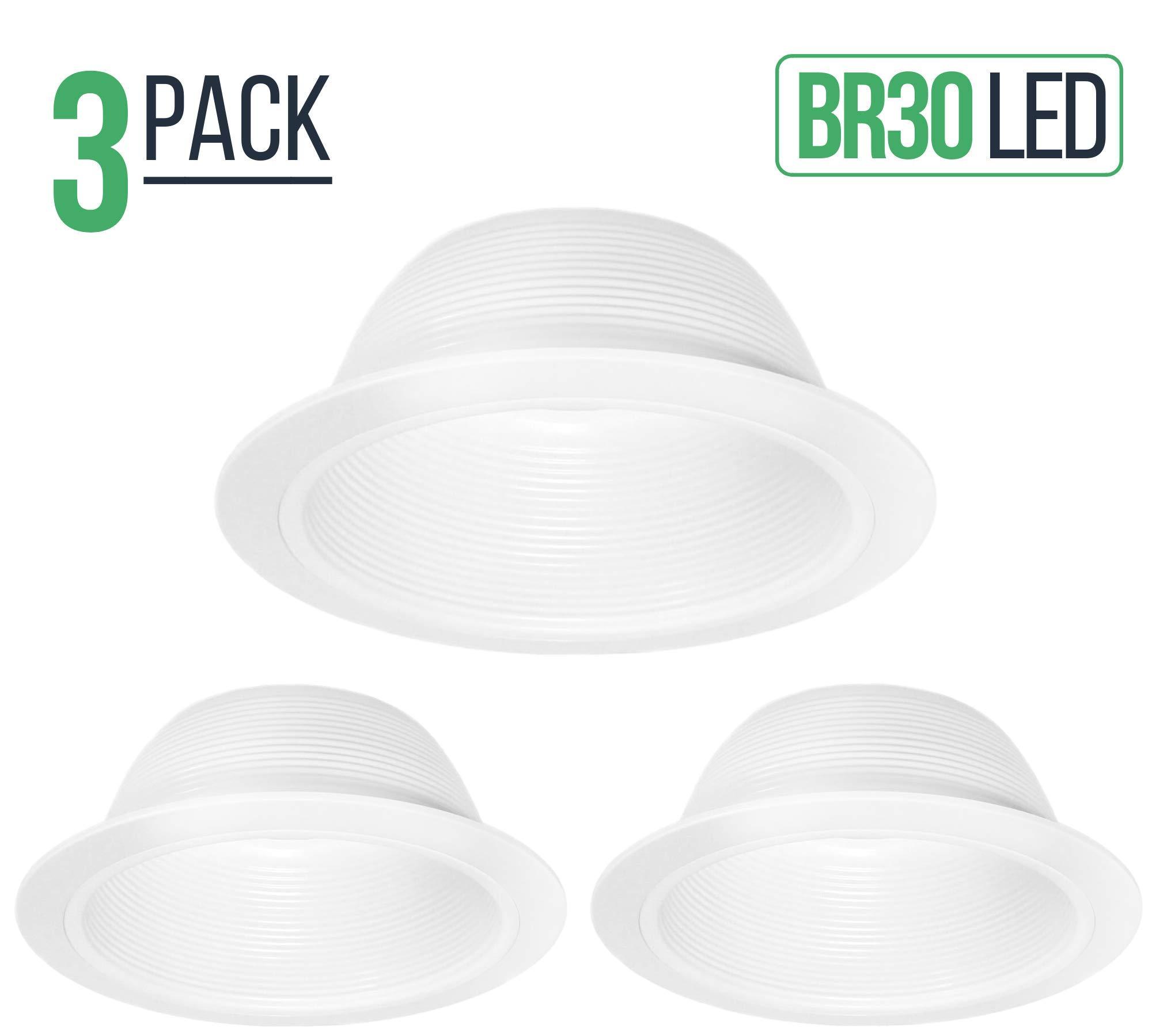 6'' Inch White Baffle Recessed Can Light Trim, Stepped, for BR30/38/40, PAR30/38, LED, Incandescent, CFL, Halogen (3 Pack)