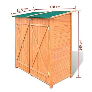 vidaXL Cobertizo de Madera para El Almacenamiento de Herramientas de Jardín: Amazon.es: Hogar