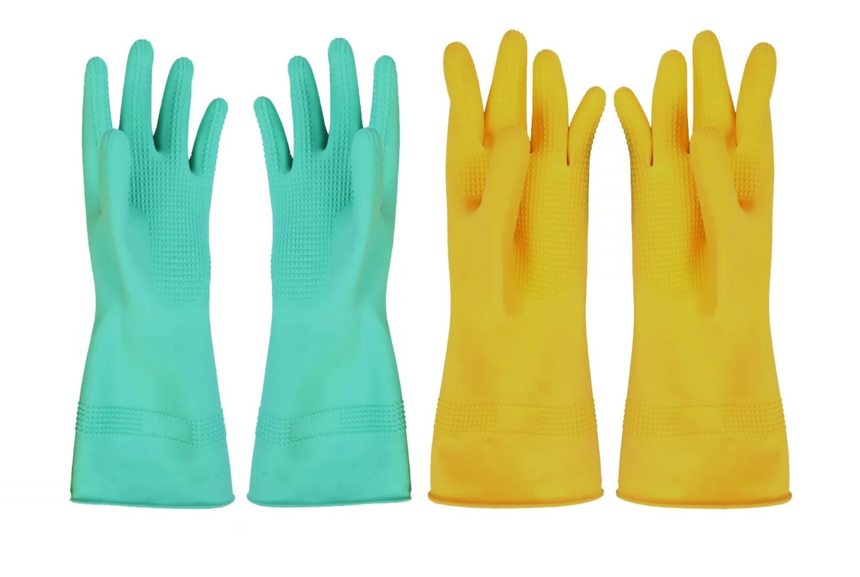 Cindy&Will 2Pairs of Reusable Skidproof Embossed Palm Latex Gloves, XL, 13''