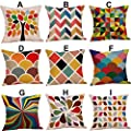 FORUU Throw Pillowcase, Mustard Pillow Case Covers Colorful Geometric Fall Autumn Cushion Decorative