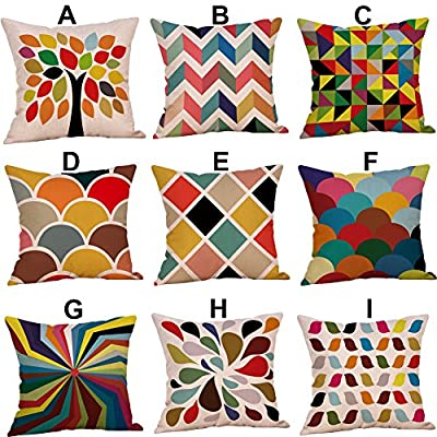 FORUU Throw Pillowcase, Mustard Pillow Case Covers Colorful Geometric Fall Autumn Cushion Decorative