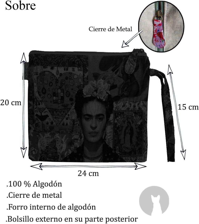 Bolso Aseo//Neceser Maquillaje Viaje//Set 3 Piezas Neceseres sobre Cartera y Monedero de Mujer Frida Kahlo. Granate