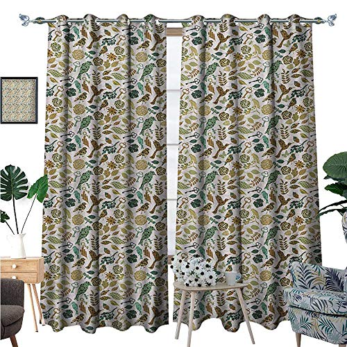 BlountDecor Leaves Room Darkening Wide Curtains Birds Dragonflies and Keys in Foliage Themed Image on Bullseye Heart Background Customized Curtains W72 x L96 Multicolor (Light Plum Bullseye)