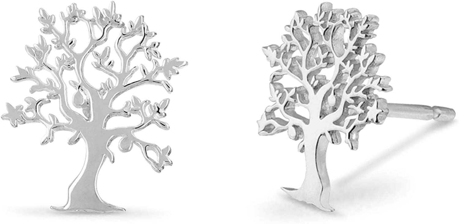 Boma Jewelry Sterling Silver Tree of Life Nature Stud Earrings