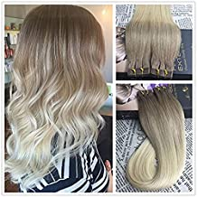Moresoo Brazilian Remy Human Hair Extensions Seamless Tape in Balayage Ombre light Natural Brown to Bleach Blonde Straight Virgin Hair(18 Inch 20pcs/50g)