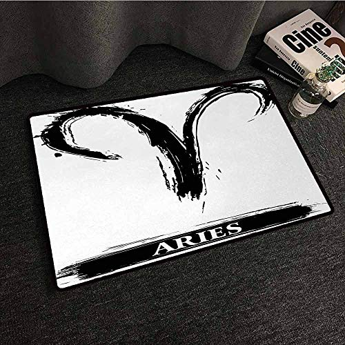Home Bedroom Floor Mats Astrology,Aries Astrology Sign with Artsy Grunge Illustration Elements Character Venus,White Black,W31 xL47 Carpet Flooring
