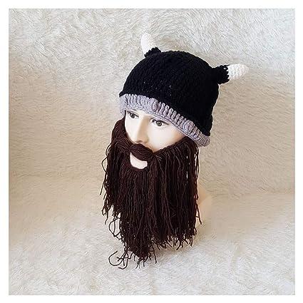 Sombrero Divertido Hombres Mujeres Sombrero De Punto Peluca Barba Lana Creativo Tejer A Mano Cabeza En