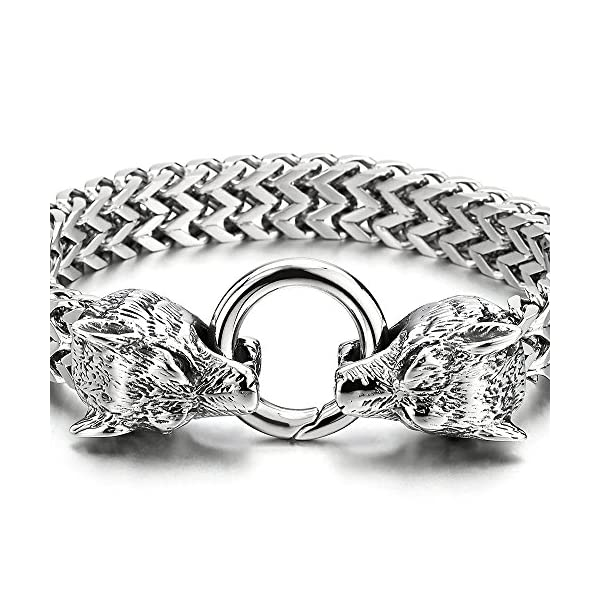 COOLSTEELANDBEYOND Biker Mens Stainless Steel Wolf Head Franco Link Curb Chain Bracelet with Spring Ring Clasp 8.7 Inch