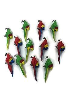 Mr_air_thai_Miniature Lot of 12 Miniature Parrot Bird Fairy Garden Supplies Animal Figurine Furniture Dollhouse GD#009
