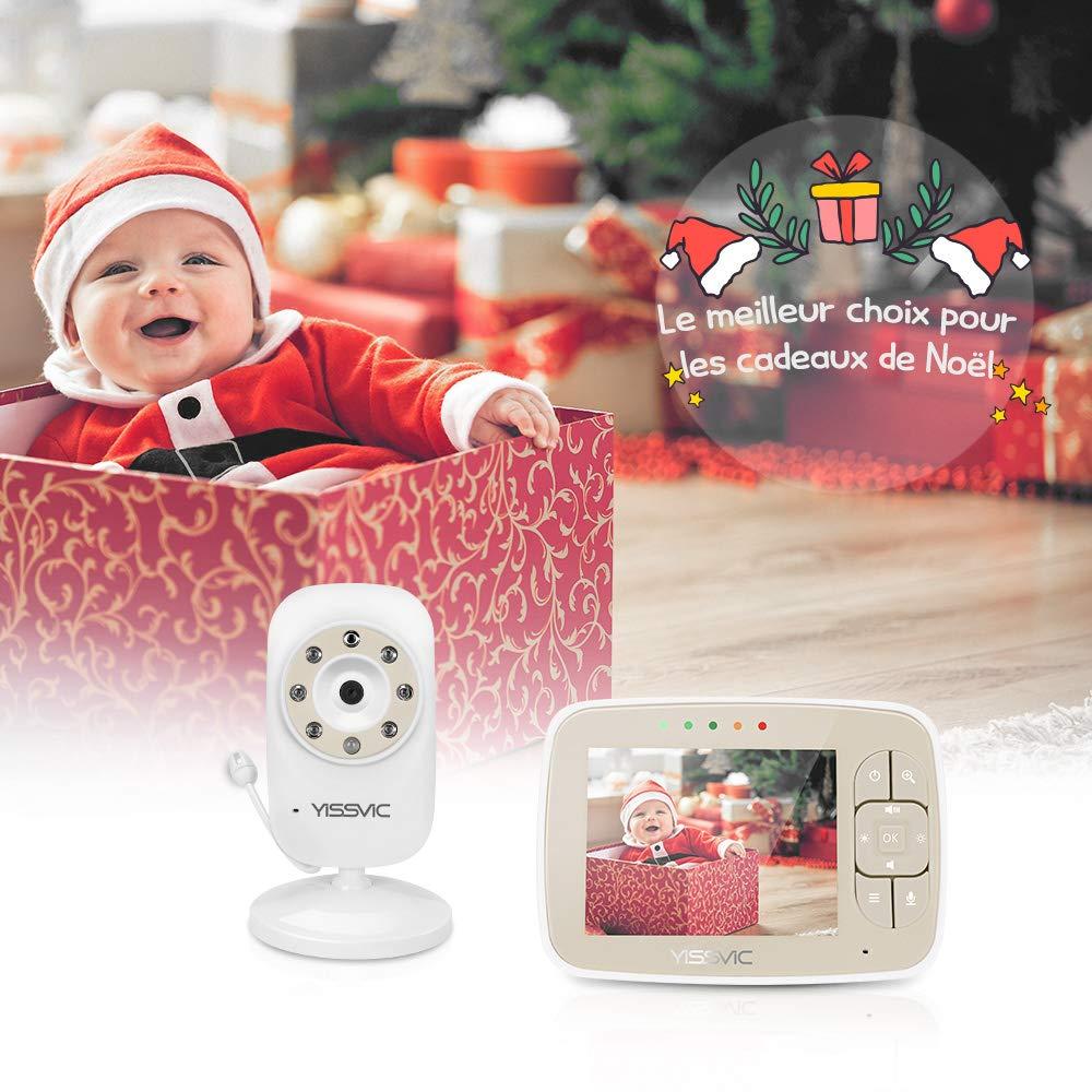 YISSVIC Babyphone Bébé Moniteur 3, 5' LCD Couleur Ecoute Bébé Vidéo Babyphone Caméra Surveillance Bidirectionnelle 2, 4 GHz Vision Nocturne Support 4 Caméras 4 GHz Vision Nocturne Support 4 Caméras