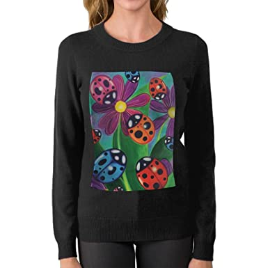 9d8c2e0964958 Women s Ladybird And Flowers DIY Personalized Print Fashion Long Sleeve Sweater  Jumpers Pullover Small