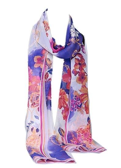 Prettystern HL54101 - 180cm X55cm mousseline pittoresque foulard de soie -  Fleurs Fatansie - bleu b3841fc4864