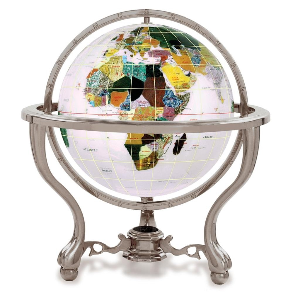 KALIFANO 4'' Gemstone Globe w/ Opal Opalite Ocean and Antique Silver Commander 3-Leg Table Stand by Alexander Kalifano