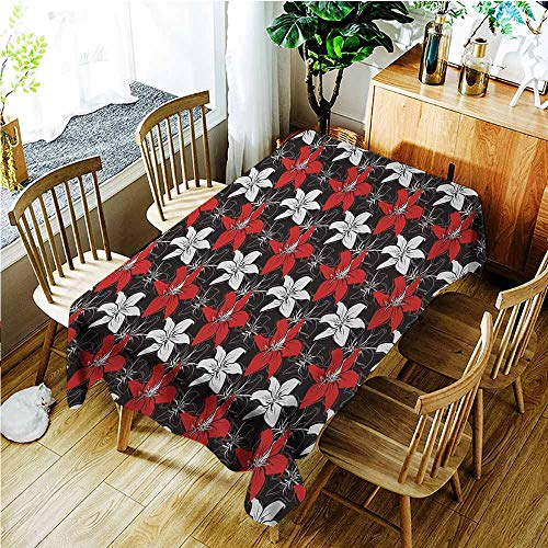 TT.HOME Rectangular Tablecloth,Red and Black Artistic Bedding Plants Flourishing Garden Pattern Retro Nature,Fashions Rectangular,W60x120L,Black White Vermilion