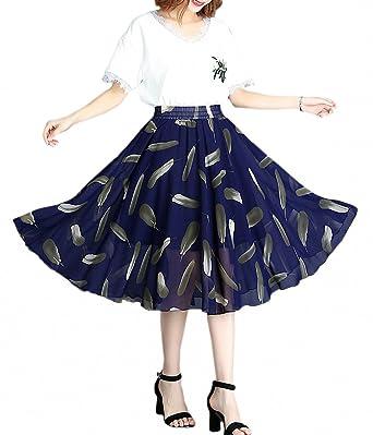 71c3045f698 Afibi Women s Floral Print Pleated Skirt Elastic High Waist Midi Skirts  (Small