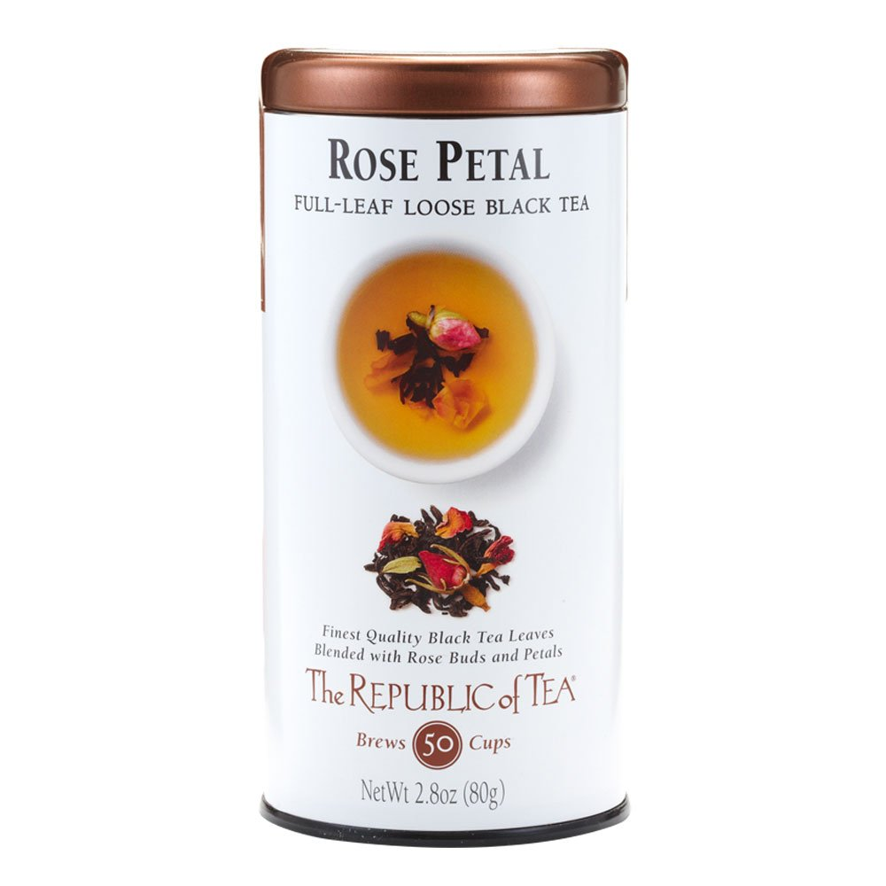 The Republic of Tea Rose Petal Black Full-Leaf Tea, 2.8 Ounces / 50-60 Cups