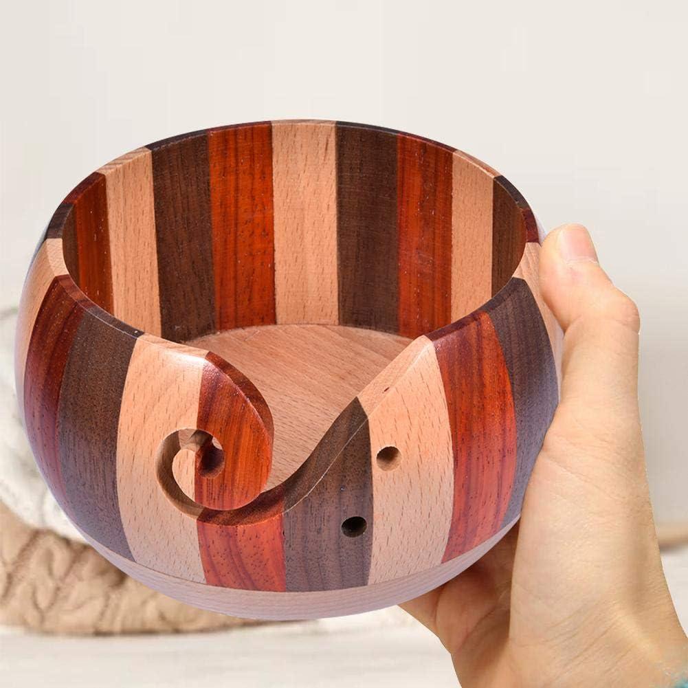 17 cm x 8 cm con design elegante accessori per lavorare a maglia HoneybeeLY Ciotola in legno lavorata a mano