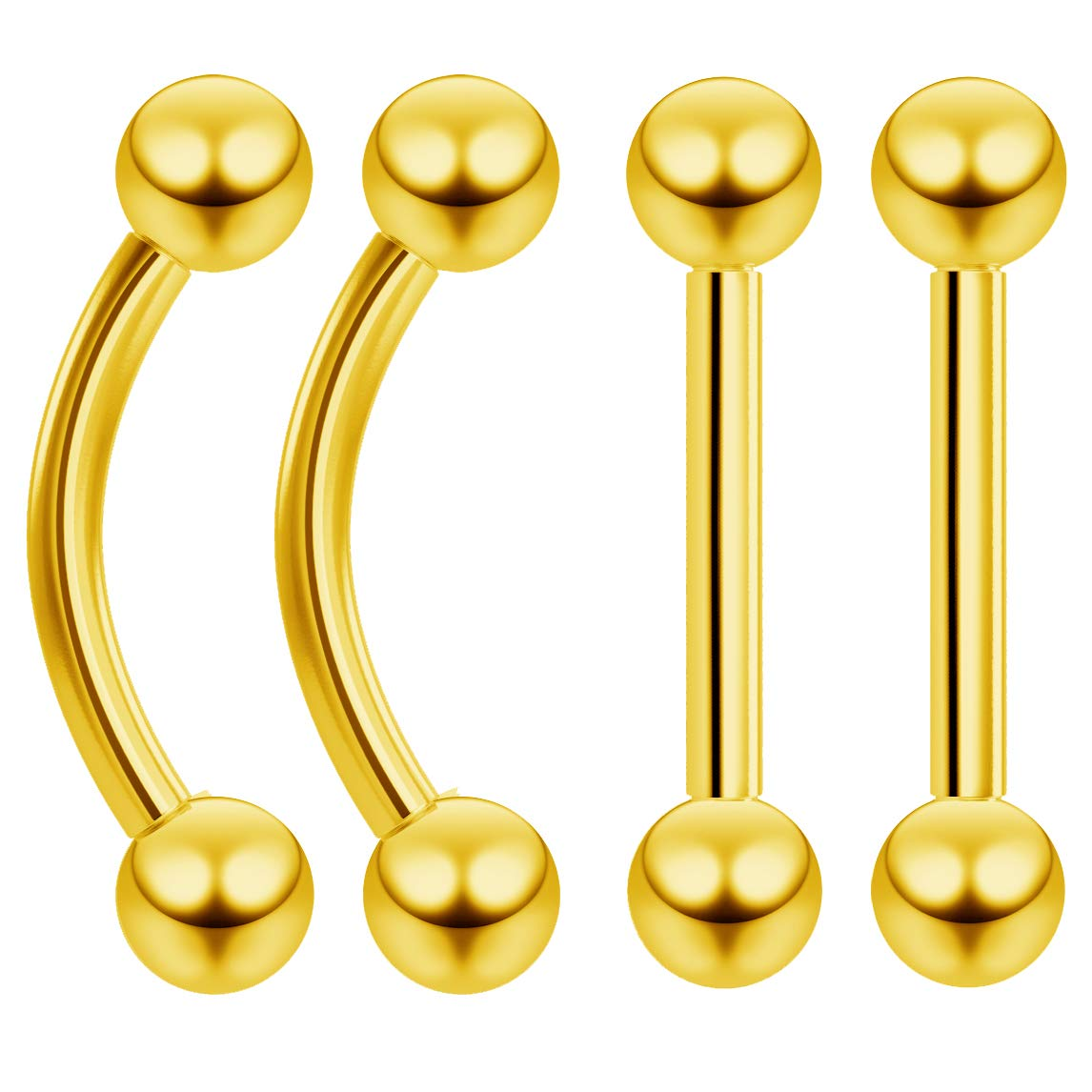4pc 16g Gold Tragus Barbell Cartilage Gauge Earring for Women Triple Forward Helix Piercing Jewelry