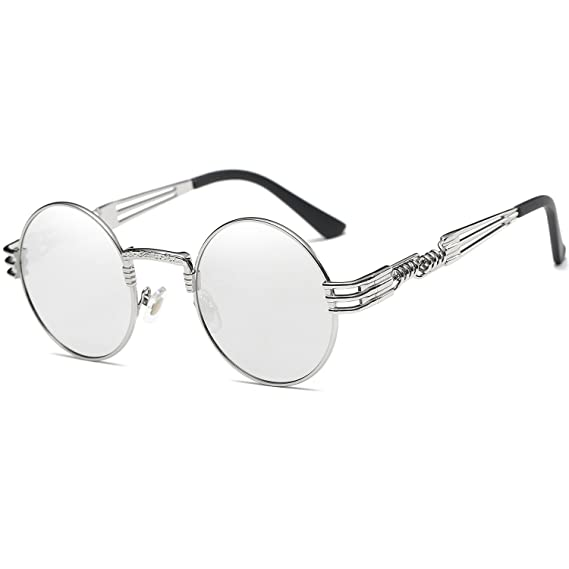 5f77f18b2db Dollger John Lennon Round Sunglasses Steampunk Style Sturdy Metal Spring  Frame Mirror Lens  Amazon.co.uk  Clothing