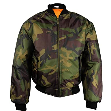 12b06f06bf5 Insight Army CAMO Mens Classic MA1 Flyer Bomber Jacket Brown Green Full Zip  Front with Orange Lining  Amazon.co.uk  Clothing