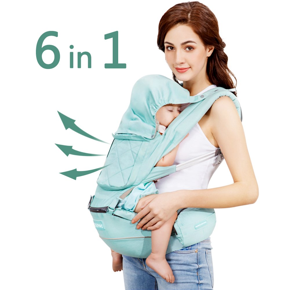 Windsleeping Toddler Baby Carrier with Hood for All Seasons,6-in-1 Ways to Carry,Hip Seat Carrier Front and Back,Silicone Skid-Proof Seat Surface,Suit for Infant,Toddler,Kids,Newborn - Dark Blue