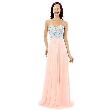 Kivary Sweetheart Beaded Sky Blue Lace A Line Long Formal Prom Evening Dresses Light Pink US