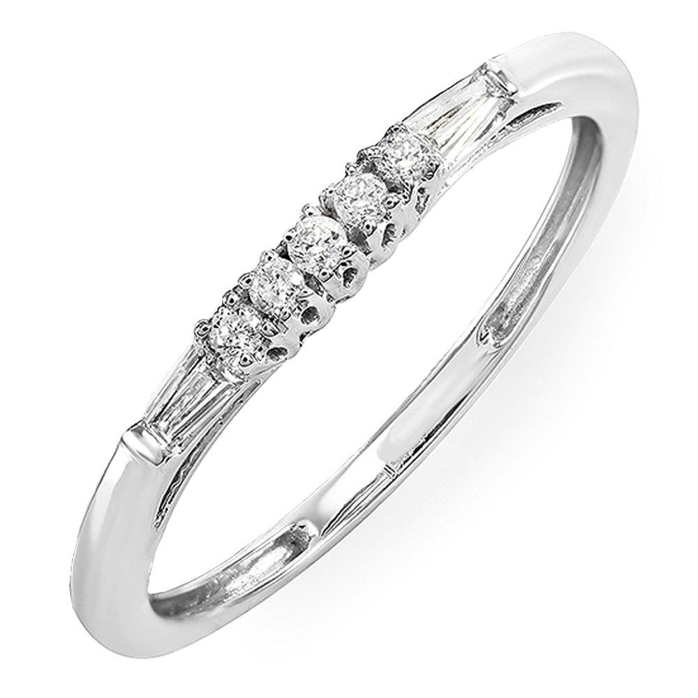 Dazzlingrock Collection 0.13 Carat (ctw) 10K Round & Baguette Diamond Ladies Wedding Stackable Guard Band, White Gold, Size 7