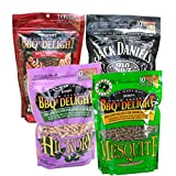 BBQrs Delight Smoker Pellets Variety Pack - Jack Daniels, Mesquite, Cherry, Hickory (1 lb bags)