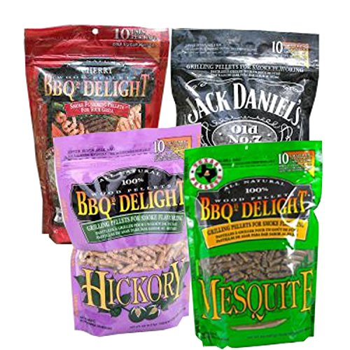 BBQrs Delight Smoker Pellets Variety Pack - Jack Daniels, Mesquite, Cherry, Hickory (1 lb bags) ()