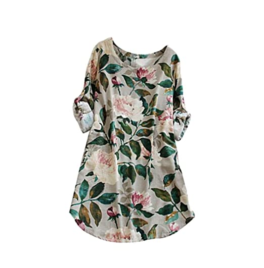 6a18fb6577 Snowfoller Women Dress Summer Fashion O-Neck Floral Printed Cotton Linen A-Line  Dress