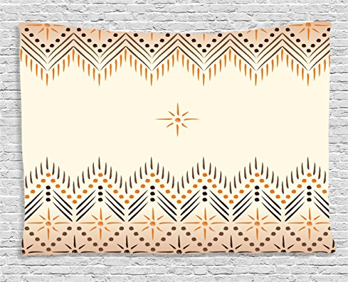 - Geometric Decor Tapestry by Ambesonne, Vintage Primitive Aztec Native American Motif with Folk Art Effect Print, Wall Hanging for Bedroom Living Room Dorm, 80WX60L Inches, Peach Amber