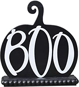 Boo Pumpkin-Shaped Wood Tabletop Decor, Halloween Decorations, Haunted House Decor, for Home, School, Office, Party Decorations, Black