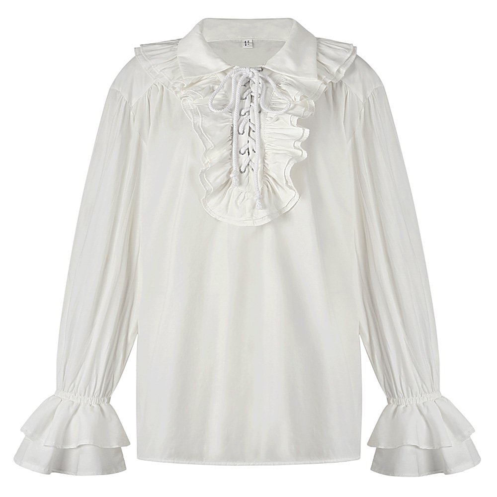 Sex icon Mens Ruffled Gothic Steampunk Victorian Renaissance Pirate Cosplay Long Sleeve Shirt (White, S)