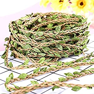 Whaline 98 Feet Artificial Vines Fake Foliage Ivy Leaf Plant Garland Rustic Wedding Party Home Wreaths Decor 51