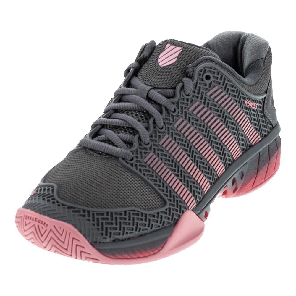 K-Swiss Women's Hypercourt Express Tennis Shoe B074G3N69S 5 B(M) US Steel Gray/Calypso Coral/Flamingo