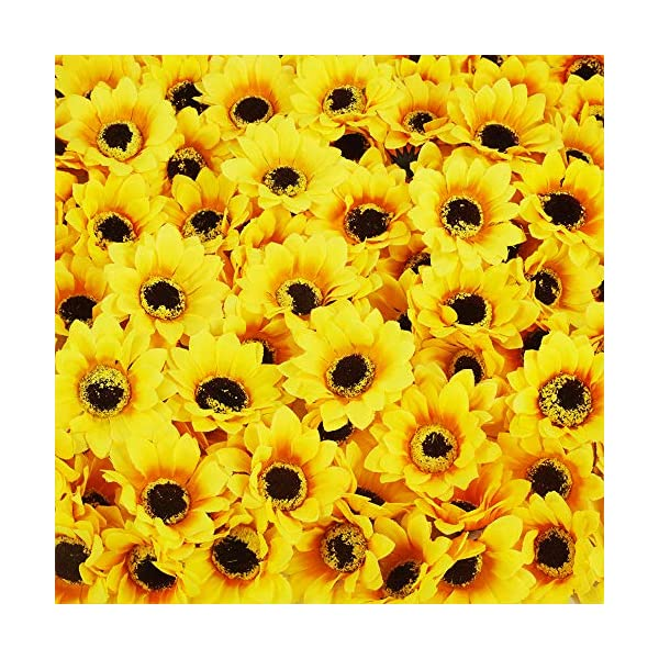 Winlyn 120 Pcs Artificial Silk Sunflowers Heads Bulk Yellow Silk Dasiy Flowers Decorations for Wedding Baby Shower Party Favors Cake Décor Hair Accessories Floral Crafts