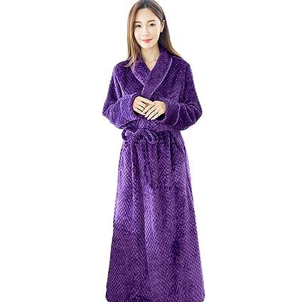 SEX Señoras Algodón Albornoces Bata Envolver Calentar Manga Larga Pijama, Purple, L