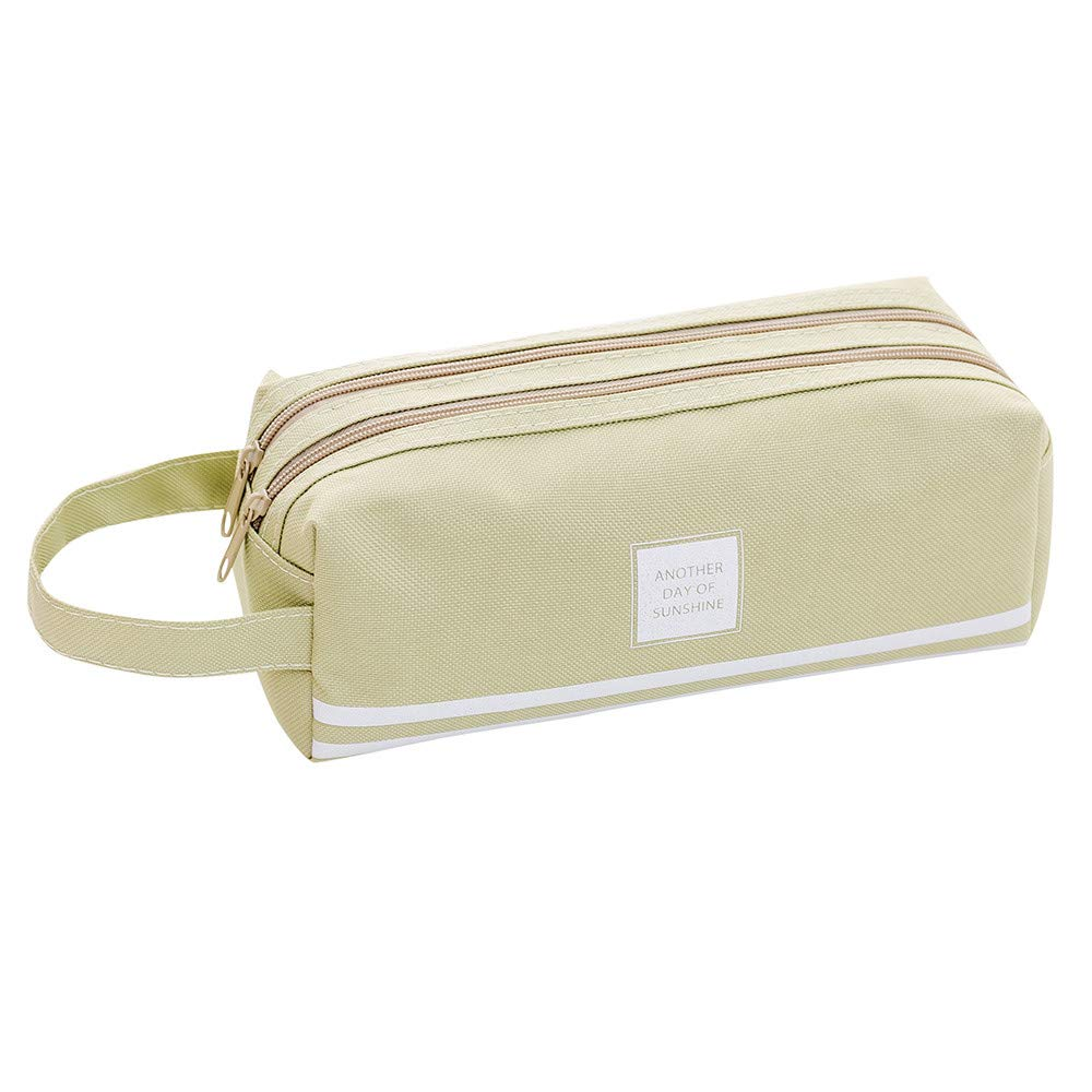 KFSO Pencil Bag,Brief Style Solid Large Capacity Striped Pen Box Stationery Zipper Cosmetic Bag with Handle (Beige)