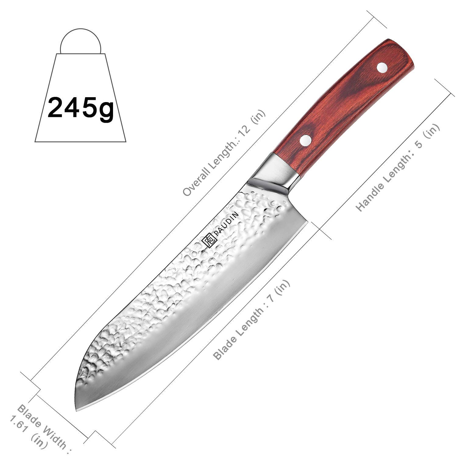 Santoku Knife 7 Inch, PAUDIN Pro kitchen knife High Carbon German Stainless Steel 7Cr17Mov Hammered Pattern, Sharp Knife with Ergonomic Pakka Wood Handle by PAUDIN (Image #7)
