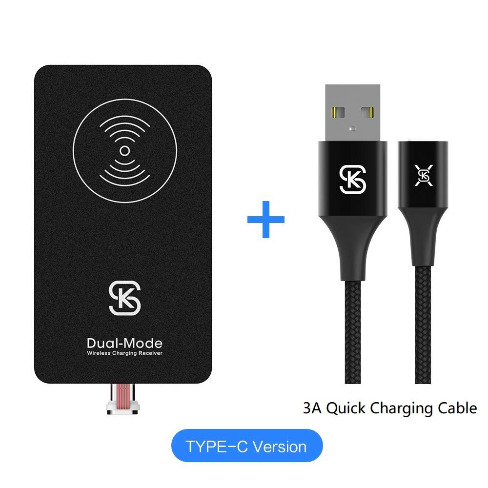 Magnetic Wireless Charger Receiver Kit SIKAI Ultra Slim Combination Wired & Wireless Charging Cable Magnetic Wireless Receiver with Free Magnetic Cable (for USB C)