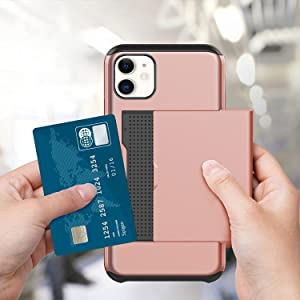 LUVI for iPhone 11 Card Holder Wallet Case Credit Card Holder ID Slot Sliding Door Hidden Pocket Protective Cover Anti-Scratch Dual Layer TPU Bumper Armor Case for iPhone 11 Rose Gold